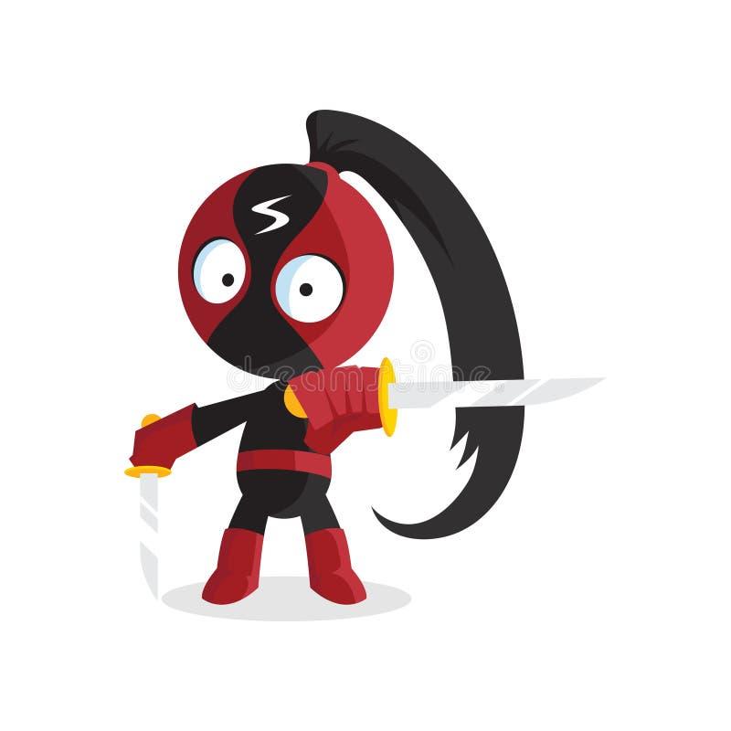 Характер мальчика Ninja супергероя с иллюстрацией вектора шаржа шпаги скача иллюстрация вектора