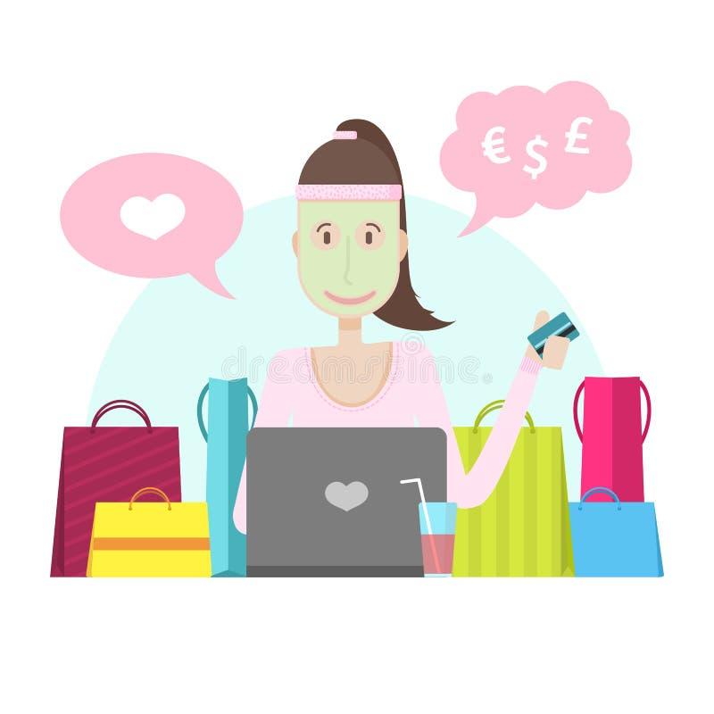 Характер маленькой девочки с компьтер-книжкой и кредитной карточкой бесплатная иллюстрация