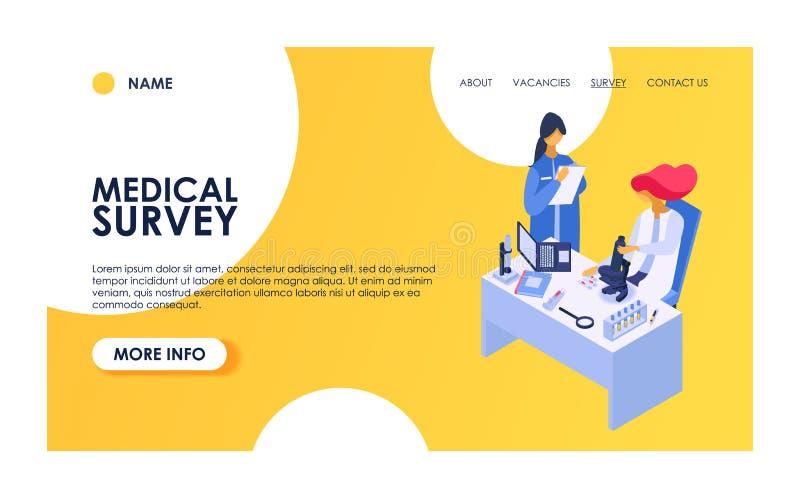 Характер медицинского человека женщины вектора обзора терпеливый имеет проверку сотрудника военно-медицинской службы вверх по рас бесплатная иллюстрация