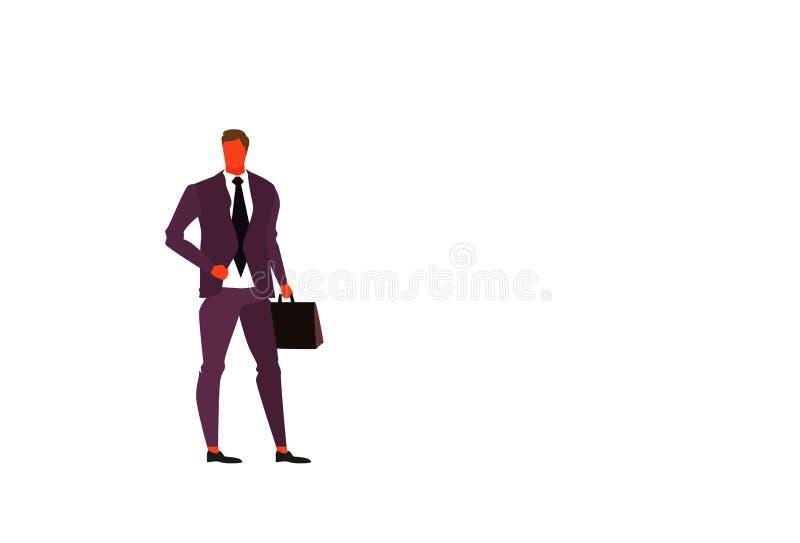 Характер молодого представления положения босса бизнесмена работника офиса портфеля удерживания бизнесмена мужского полнометражны иллюстрация штока