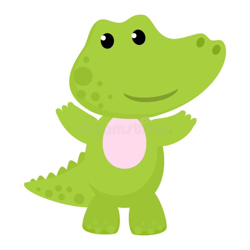 Характер мультфильма вектора крокодила крокодиловый зеленого аллигатора играя в иллюстрации игровой детей animalistic иллюстрация вектора