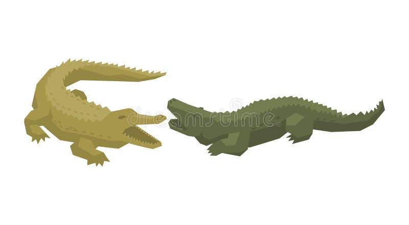 Характер мультфильма вектора крокодила крокодиловый набора зеленой иллюстрации мясоеда аллигатора animalistic опасного иллюстрация штока
