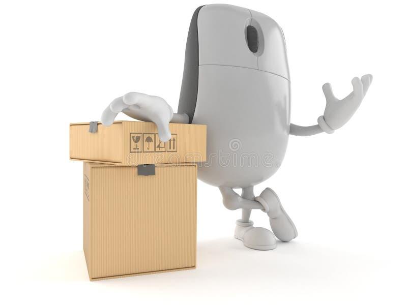 Характер мыши компьютера с стогом коробок иллюстрация вектора