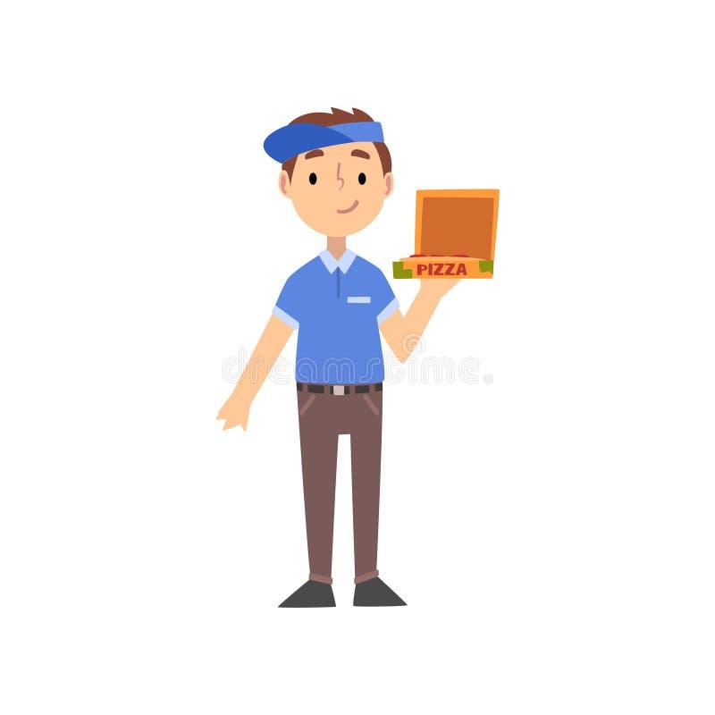 Характер носильщика мелких грузов пиццы с коробкой, ребенк мечтая будущей иллюстрации вектора профессии иллюстрация вектора