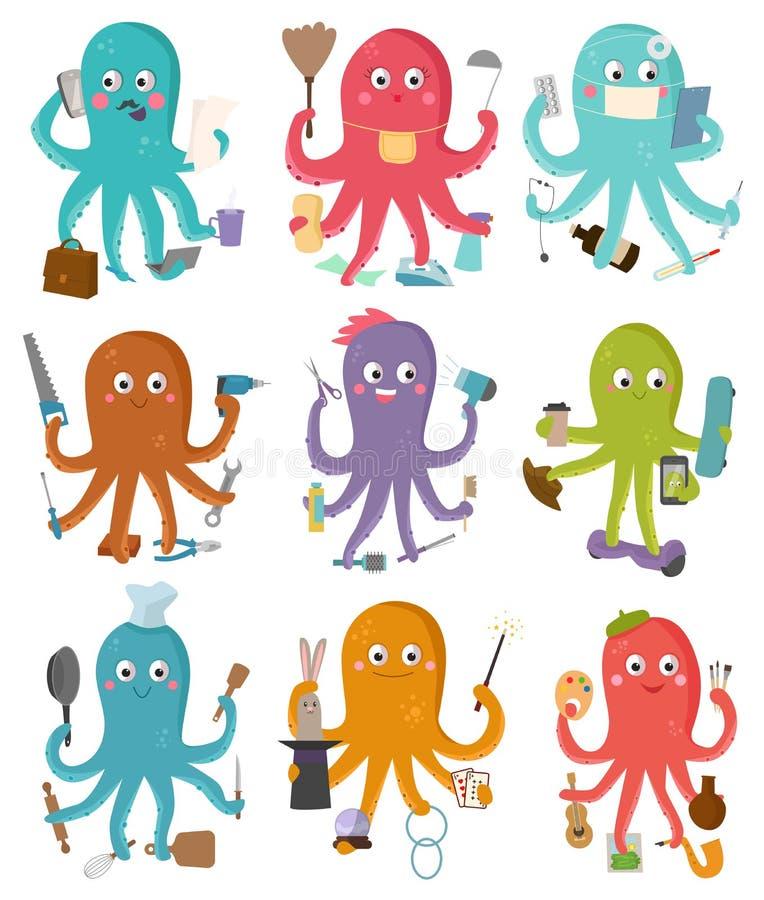 Характер осьминогов шаржа иллюстрации вектора занятия осьминога конструктора или домохозяйки бизнесмена делая многократную цепь иллюстрация вектора