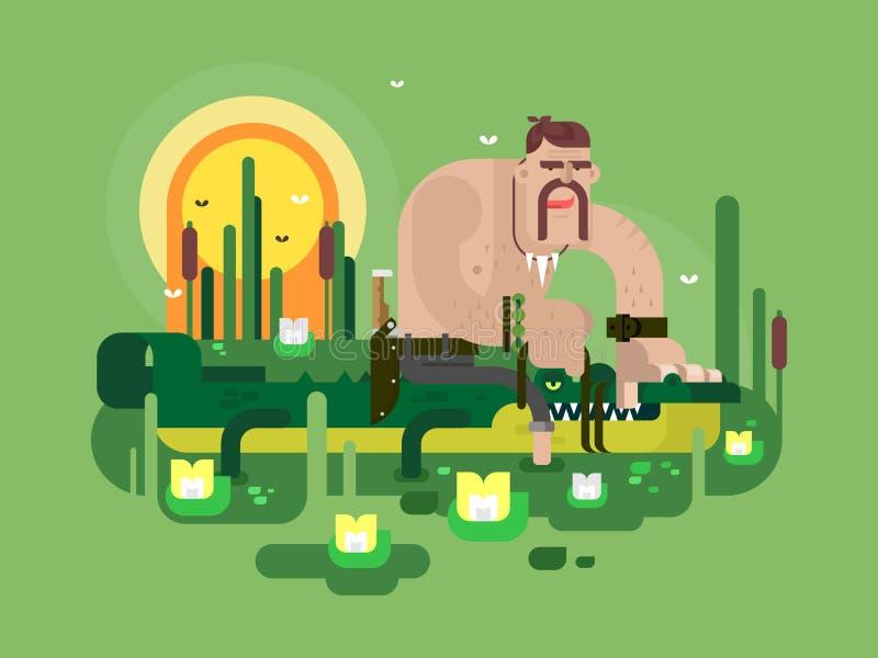 Характер охотника крокодила бесплатная иллюстрация
