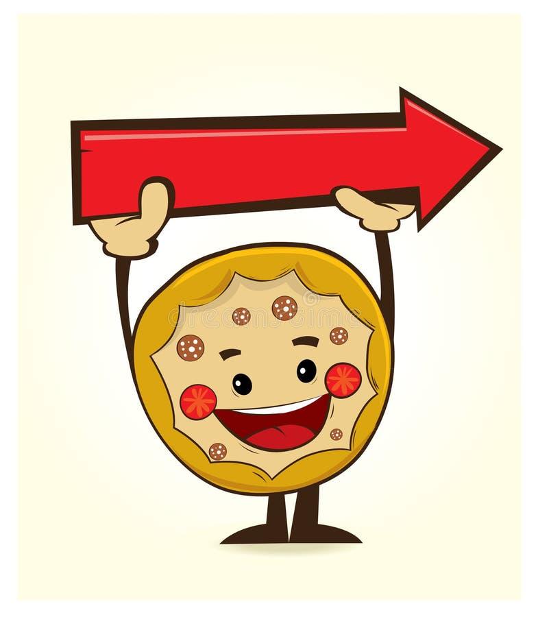 Характер пиццы с стрелкой стоковые изображения rf