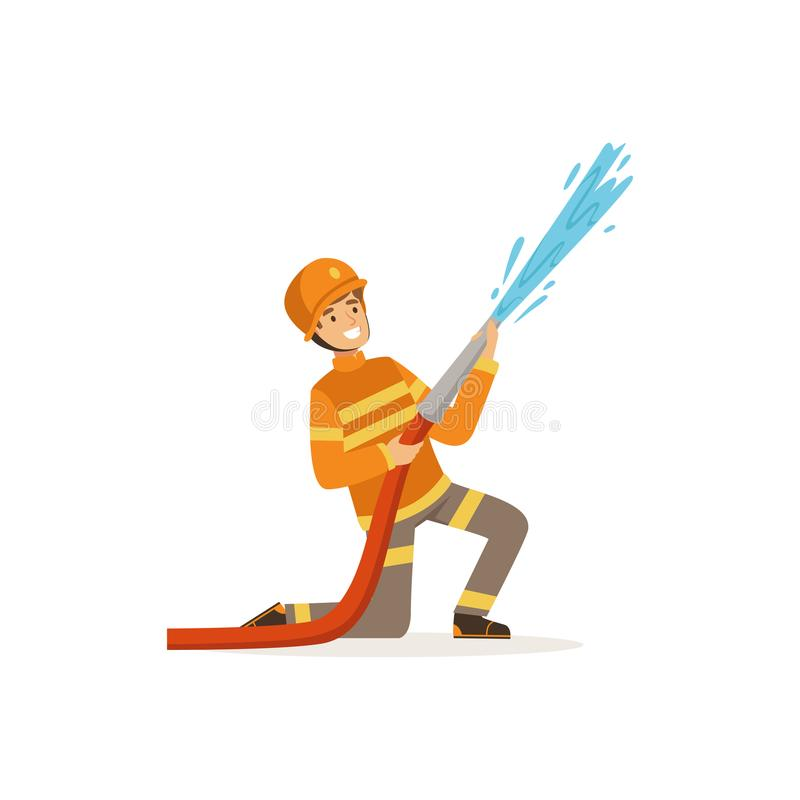 Характер пожарного в воде равномерного и защитного шлема распыляя используя шланг, пожарного на иллюстрации вектора работы иллюстрация вектора