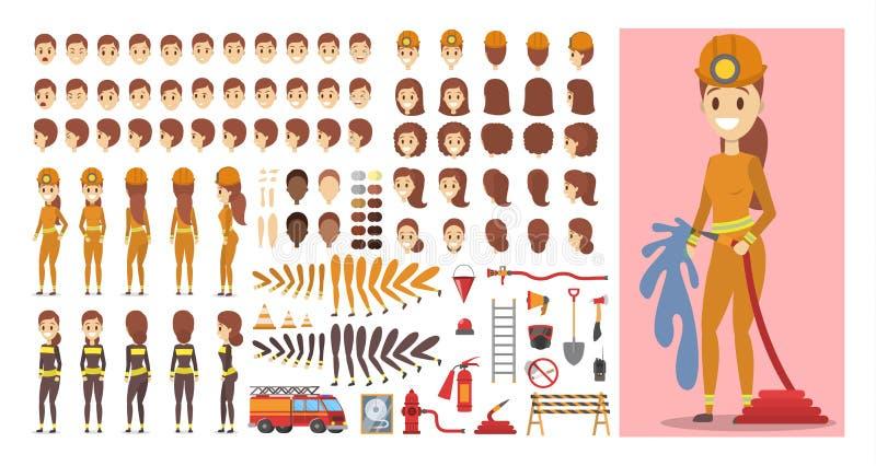 Характер пожарного в равномерном наборе для анимации бесплатная иллюстрация
