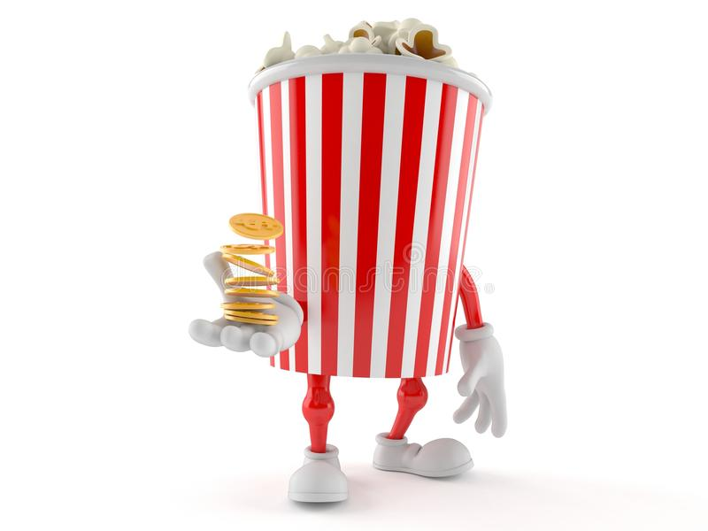 Характер попкорна с монетками иллюстрация вектора