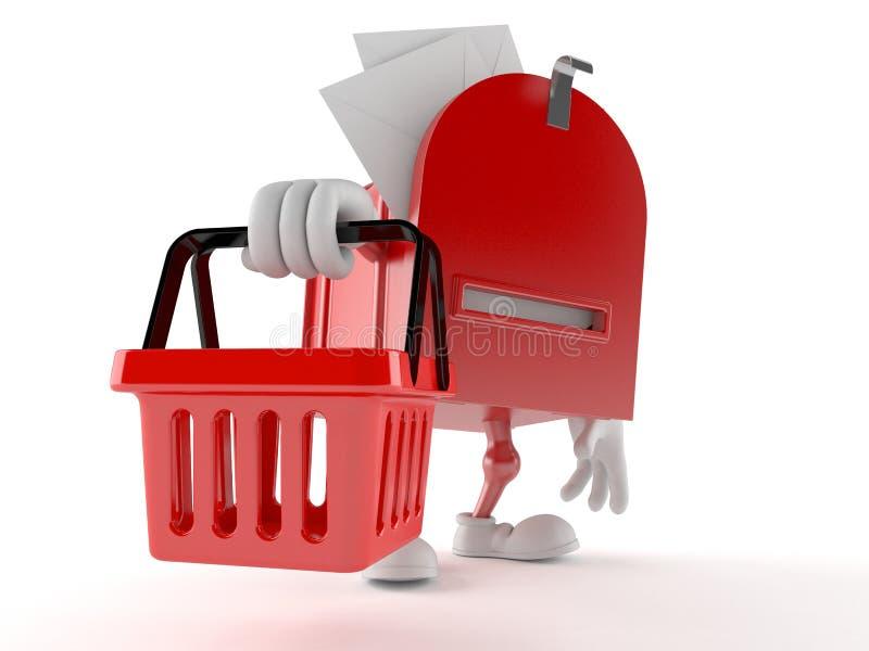 Характер почтового ящика держа корзину для товаров бесплатная иллюстрация