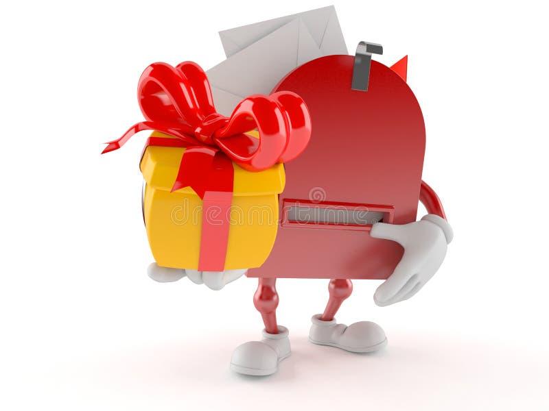 Характер почтового ящика держа подарок иллюстрация штока