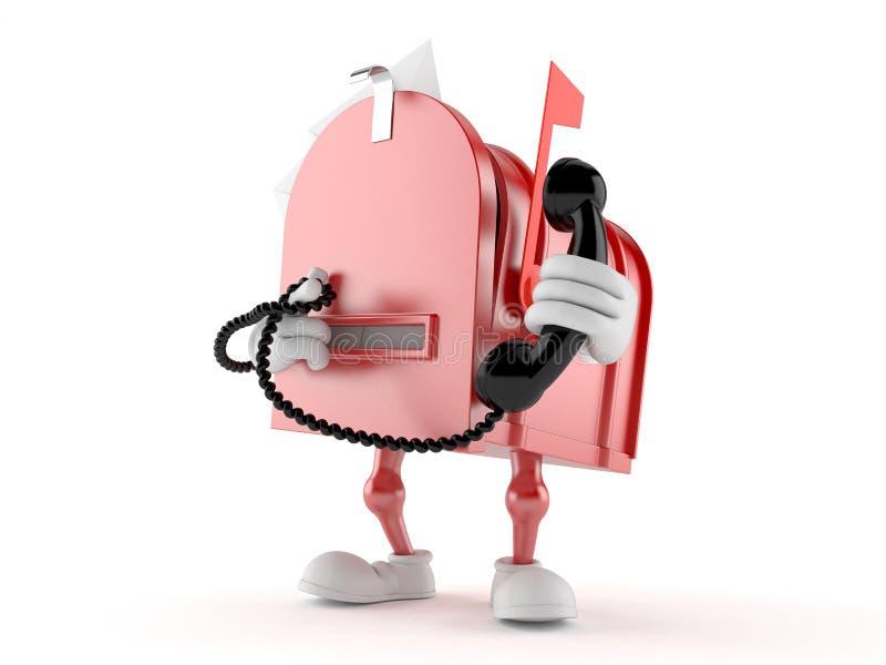 Характер почтового ящика держа телефонную трубку иллюстрация штока