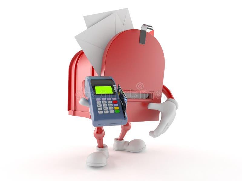 Характер почтового ящика держа читателя кредитной карточки бесплатная иллюстрация