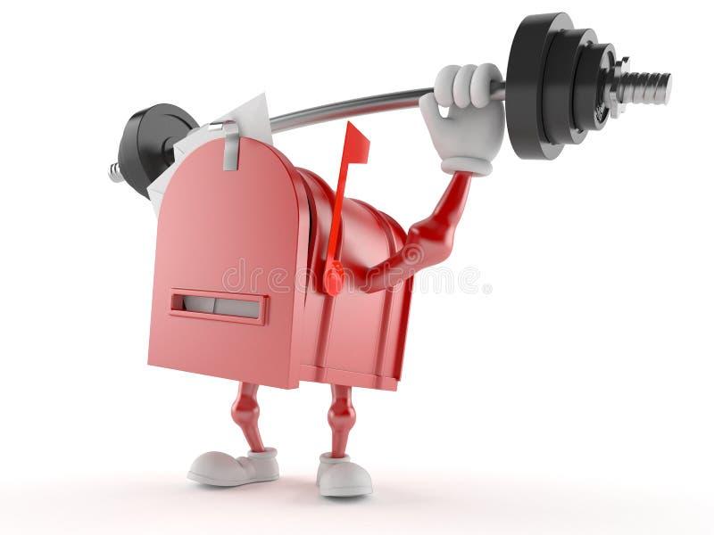 Характер почтового ящика поднимая тяжелую штангу бесплатная иллюстрация