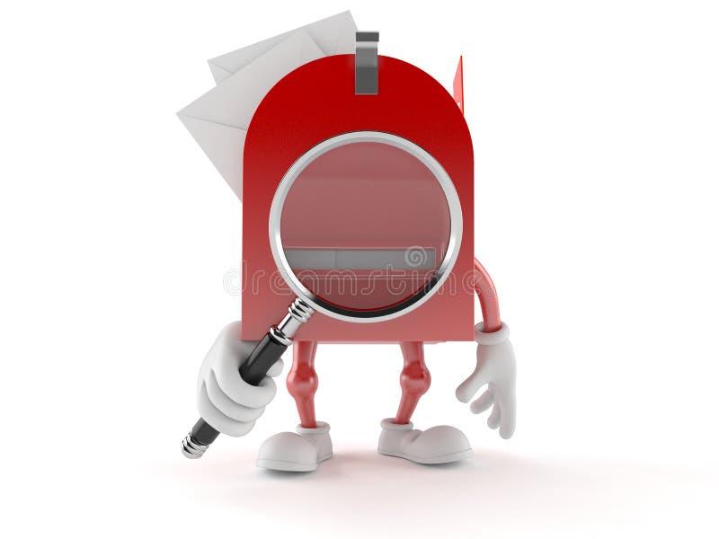 Характер почтового ящика смотря через лупу бесплатная иллюстрация