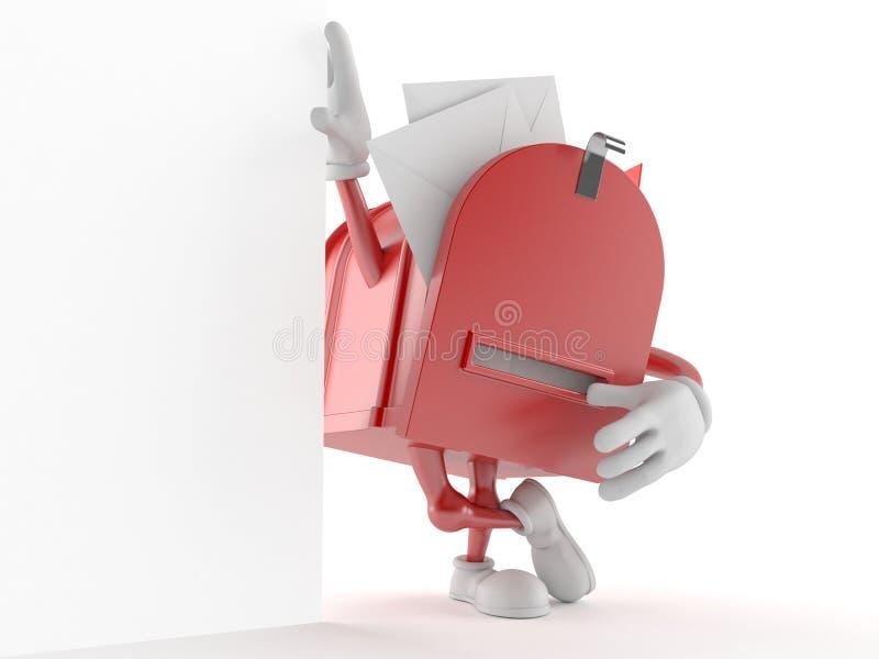 Характер почтового ящика с конвертами и письмами иллюстрация вектора
