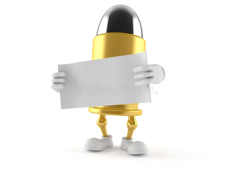 Характер пули держа чистый лист бумаги иллюстрация штока
