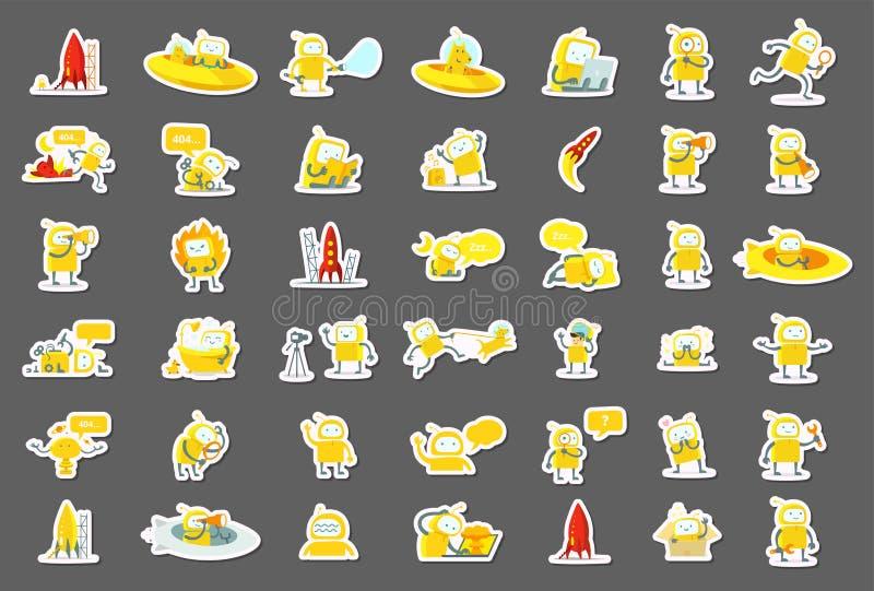 Характер роботов стикера большой установленный Желтая версия цвета Поиск, ufo и другие иллюстрация собрания иллюстрация вектора