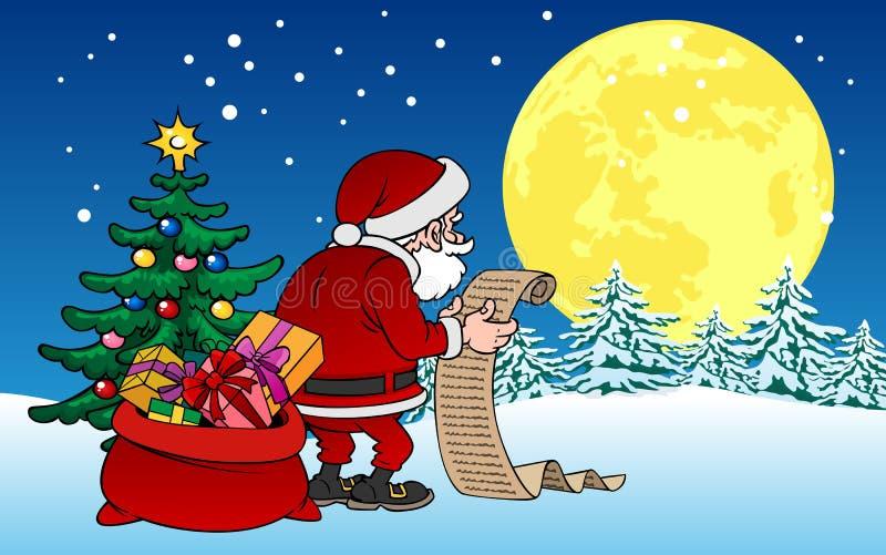 Характер Санта Клауса шаржа с подарками на предпосылке рождества стоковые изображения
