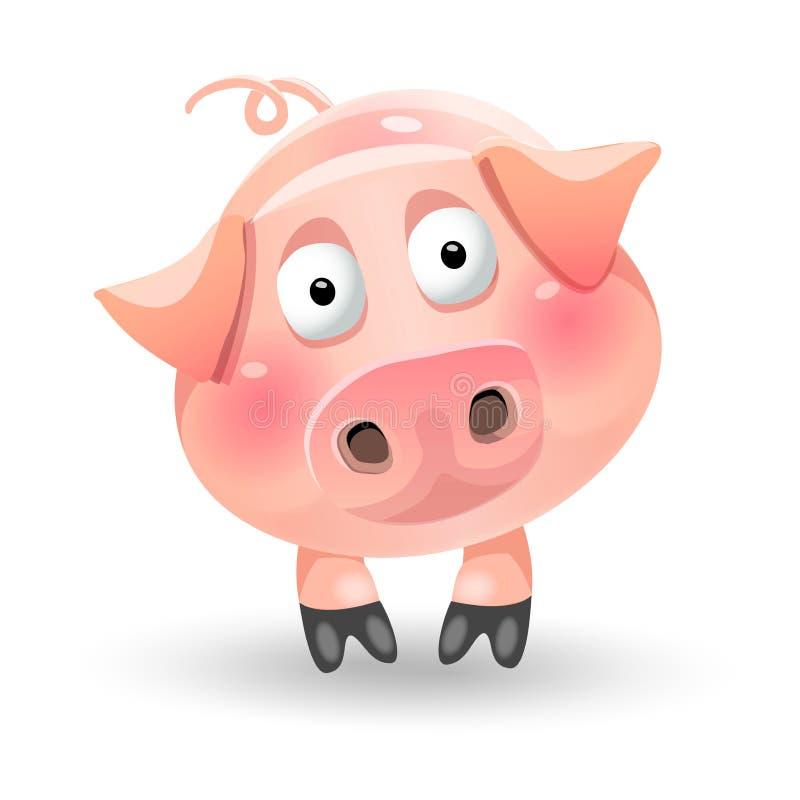 Характер свиньи милого смешного шаржа тучный на белой предпосылке вектор иллюстрация штока