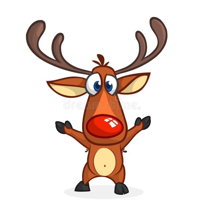 Характер северного оленя носа смешного шаржа красный возбудил развевая руки Изолированная иллюстрация вектора рождества бесплатная иллюстрация