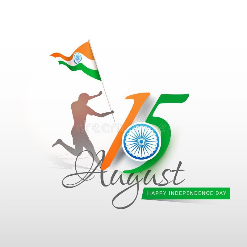 Характер силуэта человека держа индийский развевая флаг с колесом Ashoka на День независимости 15-ое августа счастливый иллюстрация штока