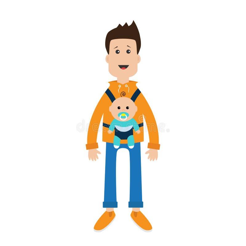Характер смешного парня шаржа милый мужской держа сына мальчика в слинге несущей младенца Отец родительский позаботится о ребенок иллюстрация штока