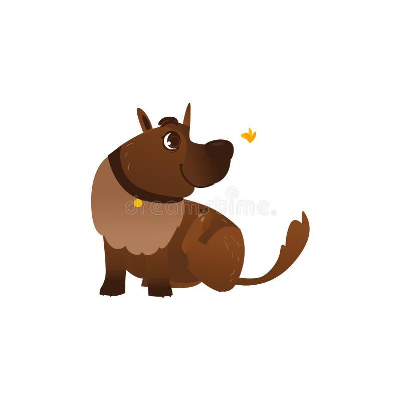 Характер собаки вектора плоский коричневый играя бабочку иллюстрация штока