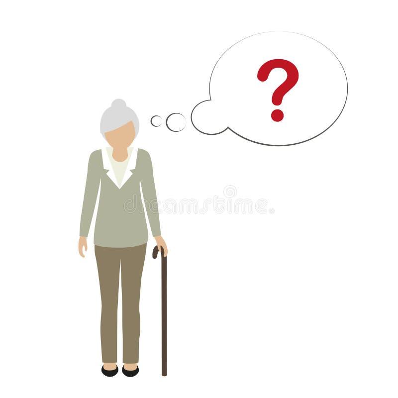 Характер старухи не может вспомнить бесплатная иллюстрация