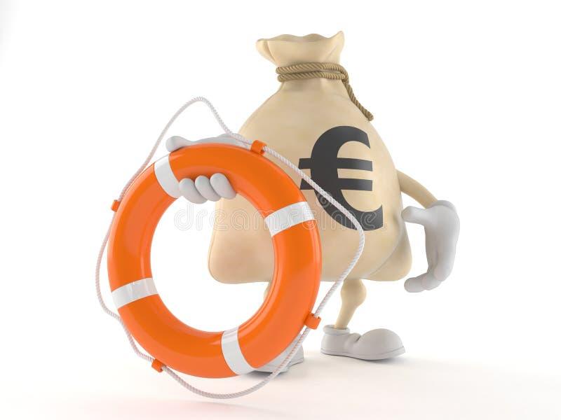 Характер сумки денег евро держа томбуй жизни иллюстрация штока