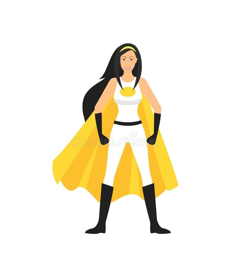 Характер супергероя шаржа женский вектор иллюстрация штока