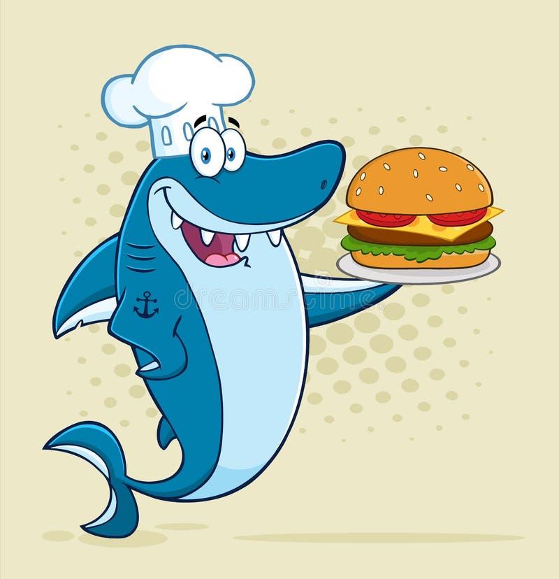Характер талисмана шаржа голубой акулы шеф-повара держа большой бургер иллюстрация вектора