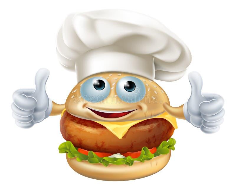 Характер талисмана бургера шеф-повара шаржа иллюстрация штока