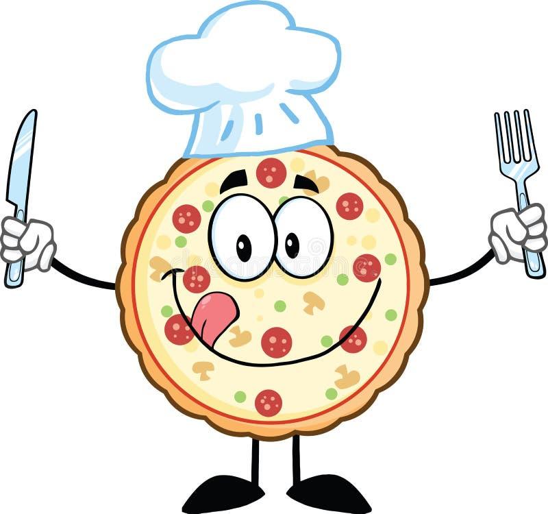 Характер талисмана шаржа шеф-повара пиццы с ножом и вилкой иллюстрация вектора