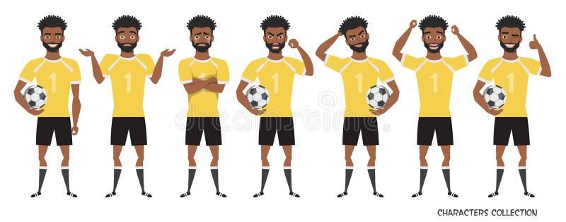 Характер футбола позиции черного Афро-американского футболиста различные, набор эмоций бесплатная иллюстрация