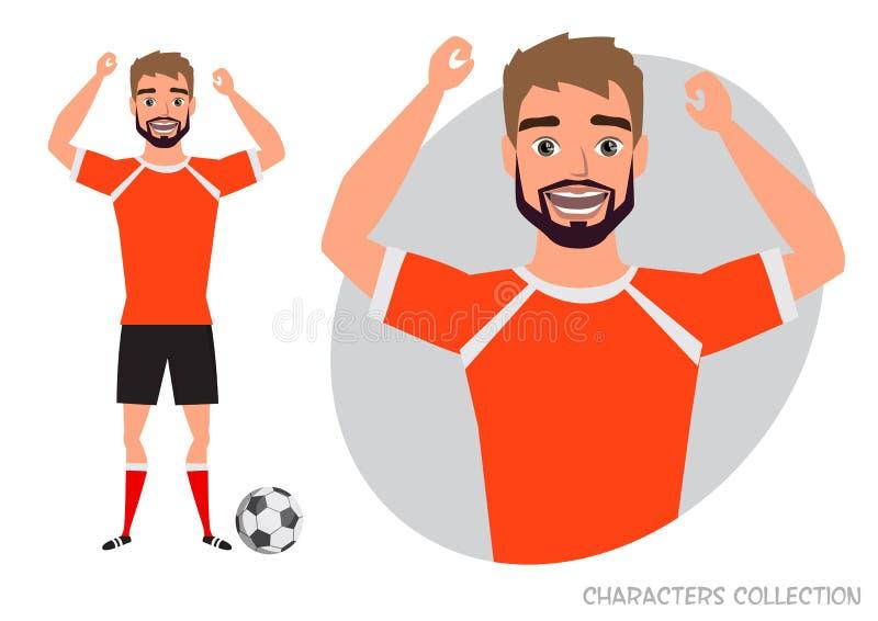 Характер футбола ball player soccer Эмоция утехи и веселья на стороне человека бесплатная иллюстрация