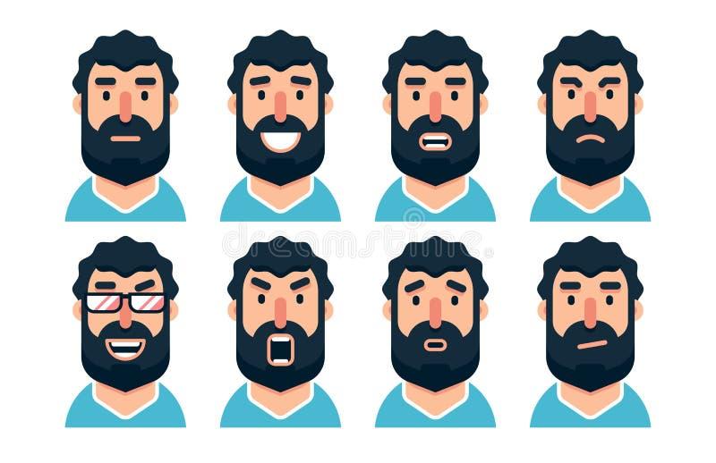 Характер человека мультфильма бородатый с различными выражениями лица бесплатная иллюстрация