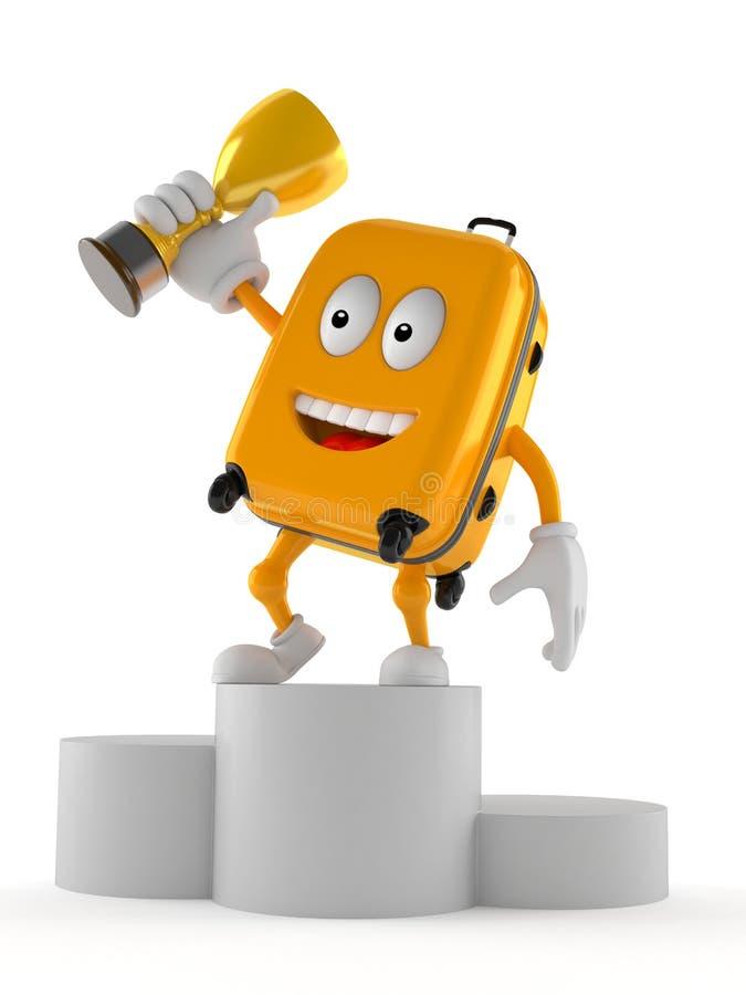 Характер чемодана держа золотой трофей иллюстрация штока