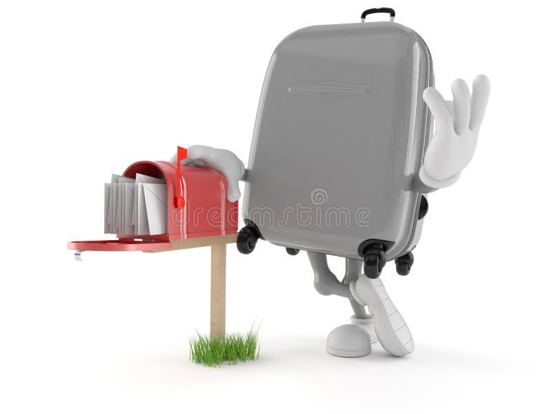 Характер чемодана с почтовым ящиком иллюстрация вектора