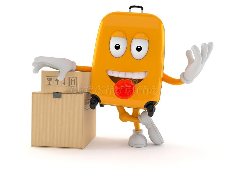 Характер чемодана с стогом коробок бесплатная иллюстрация