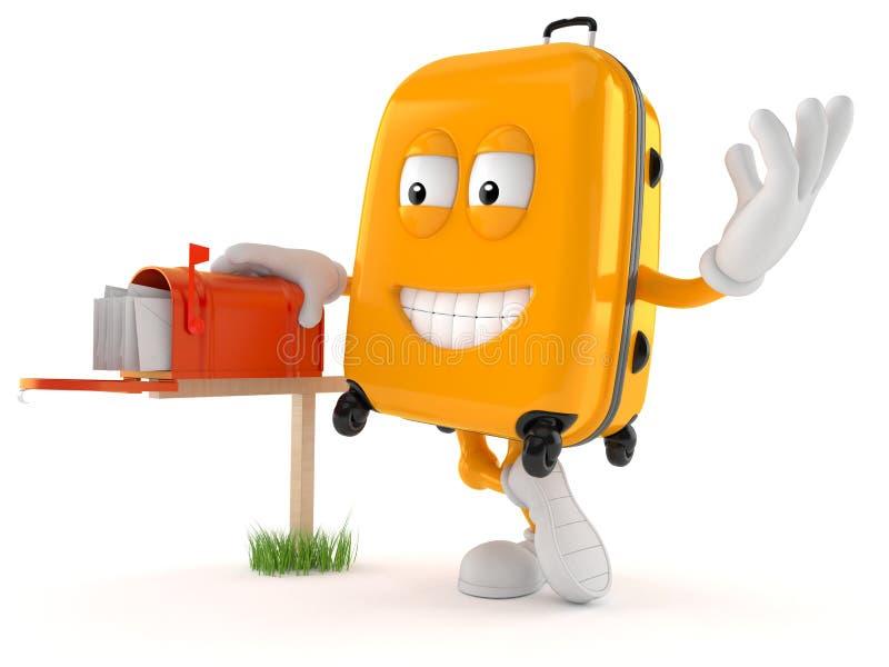 Характер чемодана с почтовым ящиком иллюстрация штока