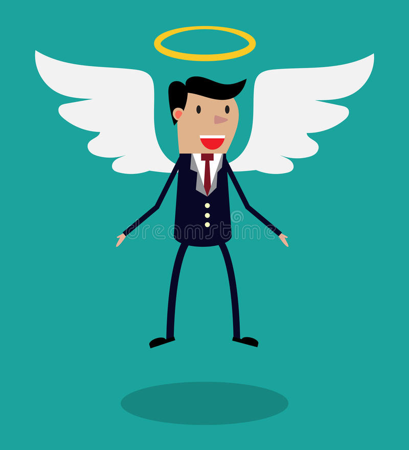 Характер человека шаржа в деловом костюме с крылами иллюстрация штока