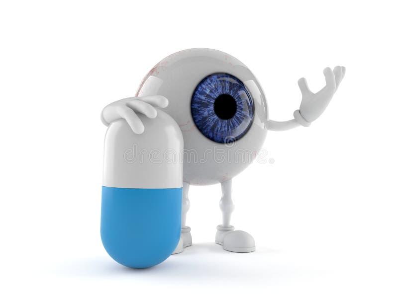 Характер шарика глаза с таблеткой бесплатная иллюстрация