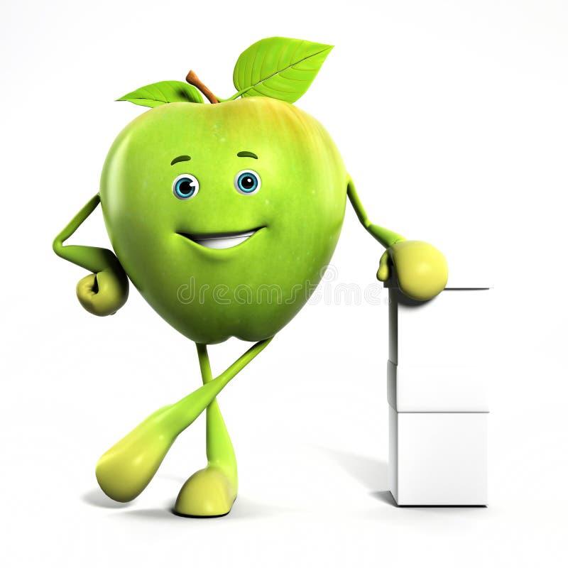 характер яблока смешной иллюстрация вектора