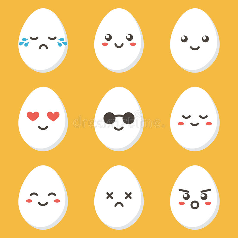 Характер яичка цыпленка плоского шаржа дизайна милый с различными выражениями лица, эмоциями иллюстрация вектора