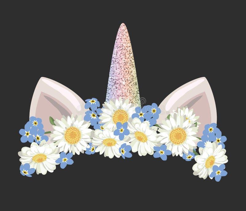 Характер catroon единорога милый с флористическим элементом яркого блеска венка и золота Для дня рождения, детский душ, одежды и бесплатная иллюстрация