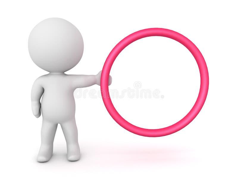 характер 3D держа красный обруч круга к правильной стороне иллюстрация вектора