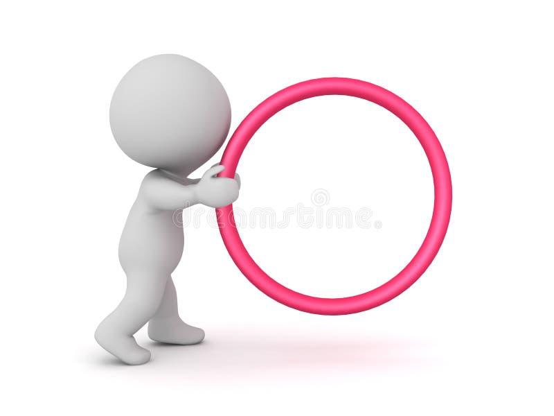 характер 3D держа с обеими руками большой красный круг обруча иллюстрация вектора