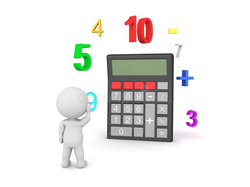 характер 3D думая о том, как сделать математику с калькулятором кармана бесплатная иллюстрация